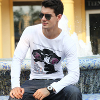 Male t-shirt 2013 long-sleeve T-shirt teenage slim print t040