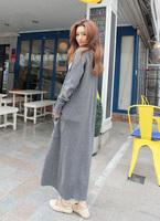 Free shipping 2013 autumn and winter female women slim long warm maxi sweater dress maxi coat ankle length grey cardigan jacket