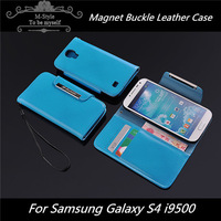 Colorful leather case for samsung galaxy S4 with card holder, wallet case for i9500 with Magnet buckle FREE SHIPPING