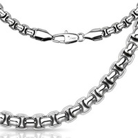 2013 Men's Stainless Steel Round Rectangle Chain Link Necklace Width  5mm