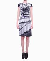 Free shipping New winter style women's dress brilliant white landscape printing KC236