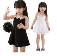 Free Shipping 5pcs/lot Newest Design Baby Girl bling bling collar sleeveless lace dress