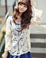 Hot Vintage Sexy Women 2013 Sheer Sleeve Embroidery Floral Lace Shirts Crochet Tee T-Shirt Tops Blouse Drop Shopping Size S -XL