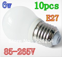 Led bubble ball bulb E27 6W Led Globe Lamp Ultra Bright Warm White Led Bulb Lights 85-265V 10pcs/lot