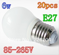 20PCS Free shipping NEW Led bubble bulb E27 6W  85-265V LED Spot Light LED globe lamp ball Spotlight lighting downlight