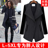 2013 autumn plus size lady outerwear high quality thick woolen outerwear fat girl winter wear ze3