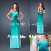 Vestidos de fiesta Sweetheart Pleat A Line Floor Length Green Backless Prom Dresses 2014 New Arrival Evening Dress