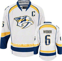 2013 new style jersey Nashville Predators #6 Weber White ice hockey jerseys Embroidery Free Shipping