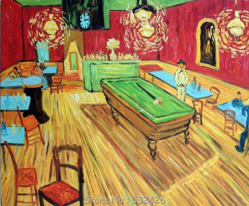 Pool Billiard Table In Bar Tavern Restaurant Van Gogh Repro