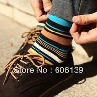 Men temperament color stripe cotton socks men winter sock wholesale A282 10pair/lot Free Shipping