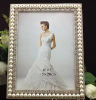Luxury 6X8 Inch Photos Rectangle Zinc Metal Photo Frames Silver Dream Modern Photo Frame W/ Cross Pearls/Rhinestones