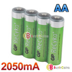 4 PCS Hi-power GP Recyko 2050mAh 1.2V Ni-MH NIMH Rechargeable AA Battery #1  #22537(China (Mainland))