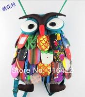 HOT 1 lot / 10 pcs Cute design Big knapsack 100% cotton hand made,Very nice owl purse,women rucksack,owl bag with handy strap
