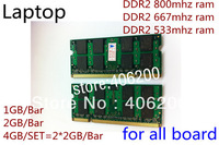 New Sealed Memory DDR2 800/667/533 4GB(2*2GB) 2GB 1GB Ram for Laptop, 800MHZ compatible with 667Mhz 533MHZ,free shipping
