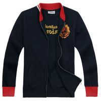 2013 autumn spring 100% sports cotton cardigan male sweatshirt stand collar men's clothing top