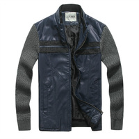 Free shipping Autumn and winter men's clothing patchwork jacket outerwear top stand collar cardigan fashion modern Men jacket