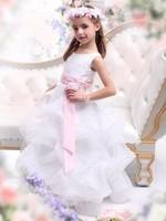 New arrival elegant DHL Free shipping ball gown tank pink belt ruffles organza white flower girl dresses long