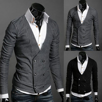2013 new  Premium Stylish Mens V-Neck Casual Stretch Double Breasted Cardigan Shirts Tops