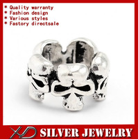 XD KM453  Handmade 925 sterling silver vintage skull spacer beads with big hole jewelry beads fit diy