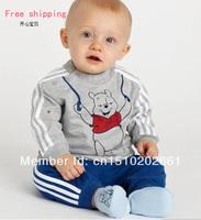 SHT107 Wholesale childrens sweat cartoon bear clothing set suit boys sport clothes,kids clothes, kids wear, children clothing