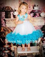 2013 Christmas Sale Two Tones Jewel Neckline Peacock Feather Inspiration Girl Dresses