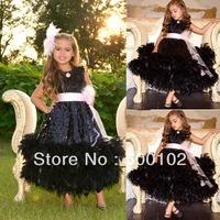 2013 Christmas Sale Black Jewel Neckline Flower  Crystal Feather Bottom Little Girl Pageant Dresses