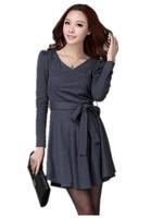Free Shipping Women Large Size Korean Version  Thin long-Sleeved Dresses.XL-XXL-3XL-4XL Dark Gray