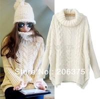 2014 Free shipping Winter new Korean large size women's loose big yards hem slit coarse knitting twist turtleneck sweater