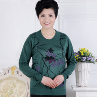 2013 quinquagenarian women's spring and autumn new arrival plus size mother clothing spring thin sweater long-sleeve sweater