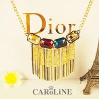 Fashion vintage tassel necklace female crystal gem long design sexy long design fashion accessories free shipping