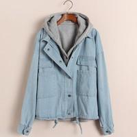 Vintage long-sleeve denim outerwear cardigan loose plus size batwing sleeve coat women's Jean jacket