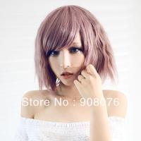 Best selling! Taro purple corn fluffy short hair bobo oblique bangs wig HARAJUKU personality type wig Free shipping