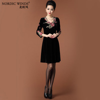 Nordic winds2013 autumn and winter gold velvet embroidery slim one-piece dress q