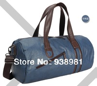 2013 The New High-Grade Soft Leather Bag Sports Gym Bag Large Capacity Cylindrical Handbag Men Casual Sports Travel Bag