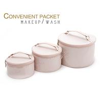 Elegant water pink embroidery rose folding cylinder net bag storage bag cosmetic bag