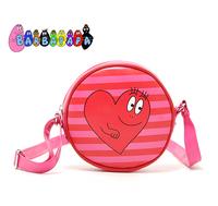 Barbapapa cartoon pink stripe circle women's handbag small messenger bag