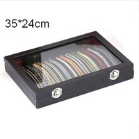 Free Shipping Wholesale Fashion Necklace Display Box Black Wood Necklace Show Case With Glass Lid