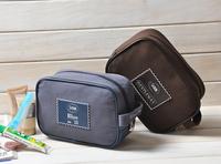 Wood 100% cotton canvas large capacity general cosmetic bag wash bag