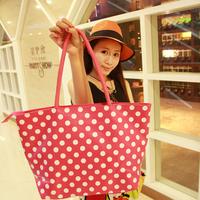 Wood Women polka dot shoulder bag handbag nappy bag shopping bag 570g