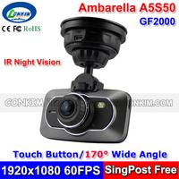 "Car Registrator Video Recorder Full HD 1080P 60FPS Auto Black Box 2.7""LCD+Touch Buttons+IR Night Vision Ambarella A5 DVR GF2000"