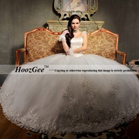 Free Shipping High-end Custom Pricess Cap Sleeve Brush Train Lace Satin Beading/Sequins Bridal Gown/Wedding Dress HoozGee-10099