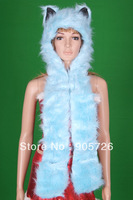 High Quality Faux Fur Animal Ears Hoodie with Long Scarf Gloves Paws Blue Fox Hood Hat Free Shipping TFL1448