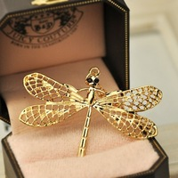 Fashion national star trend gold dragonfly necklace long necklace