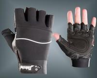 Double male men's fitness genuine leather slip-resistant semi-finger sports gloves