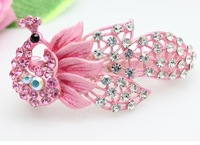 Free shipping! 2013 fashion women hair clip  peacock 18k plated with Rhinestones hair accessories for girls