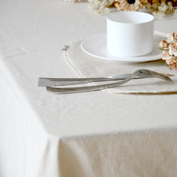 Brief modern japanese style zakka fluid linen white untarred solid color dining table cloth  gremial