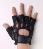 Double genuine leather aerobics fitness sports semi-finger slip-resistant mesh gauze gloves