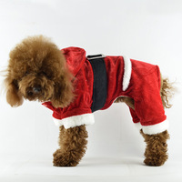 Red festive Christmas dog clothes winter pet clothes outerwear four legged christmas dog coat