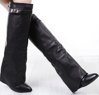 Free Shipping European Fashion New Wedges Flat Women Motorcycle Boots Knee High Top Leather