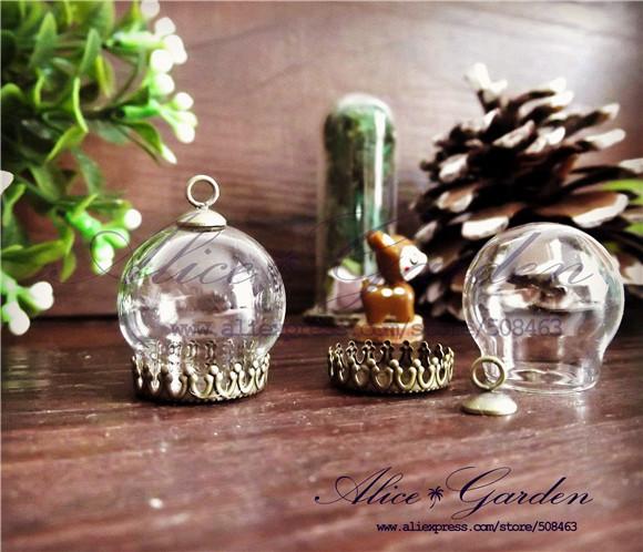 Free ship!!! 20sets/lot 20*15mm glass globe & crown base & cap finding set glass globe set glass vial pendant glass cover(China (Mainland))